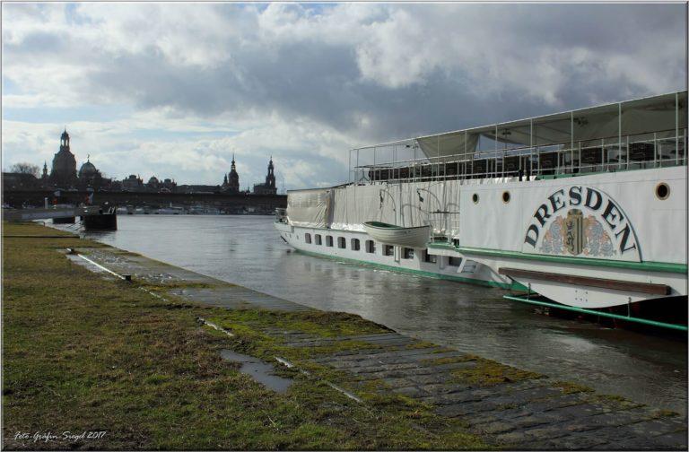 PD Dresden bei leichtem Hochwasser am hinteren Terrassenufer