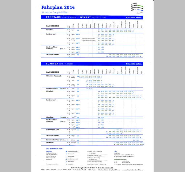 Fahrplan 2014 der Sächsischen Dampfschiffahrt