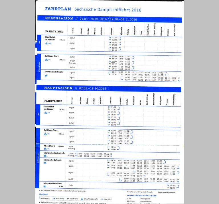 Fahrplan 2016 der Sächsischen Dampfschiffahrt