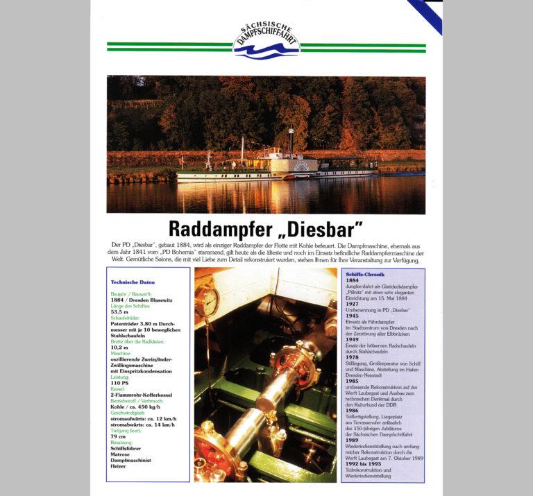 """PD """"Diesbar"""" Datenblatt (Vorderseite)"""