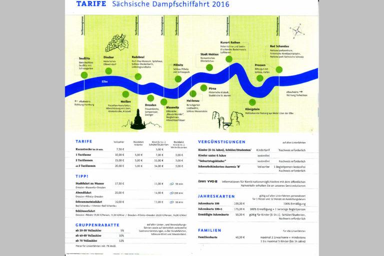 Übersicht Tarife 2016 der Sächsischen Dampfschiffahrt