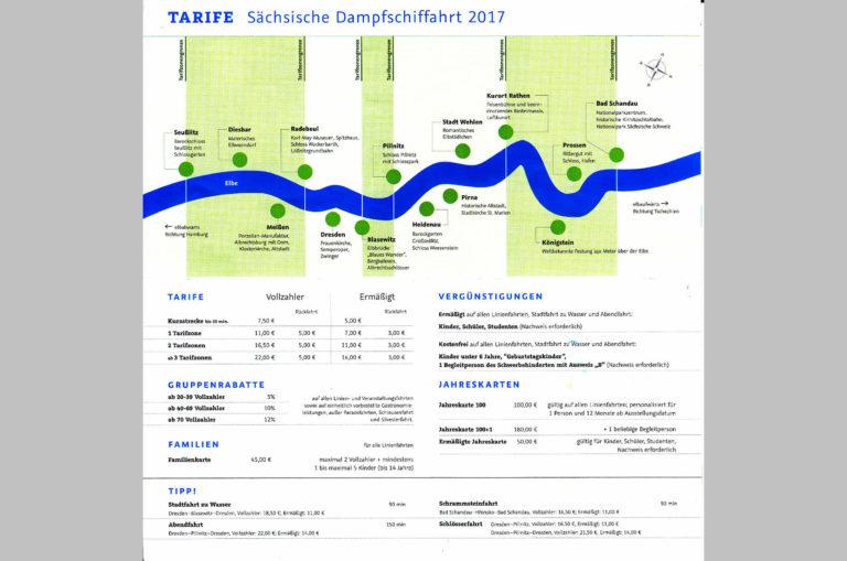 Übersicht Tarife 2017 der Sächsischen Dampfschiffahrt
