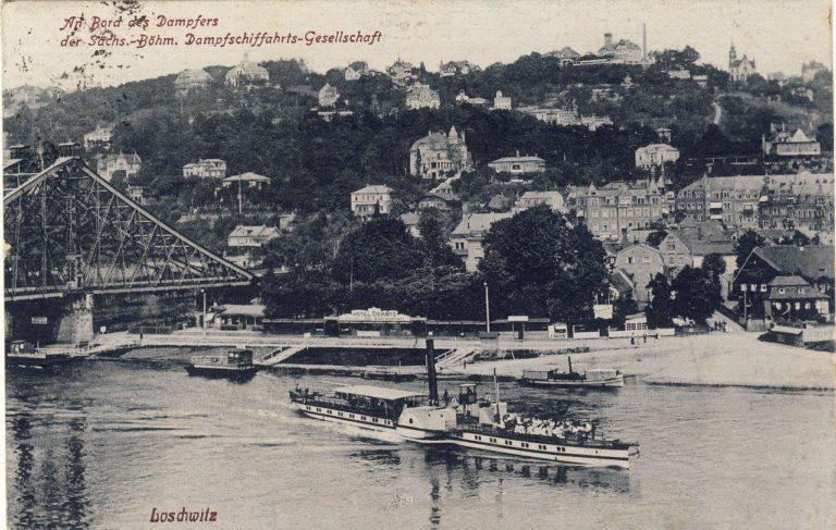 Blaues Wunder Dresden (Postkarte, gelaufen 1924)